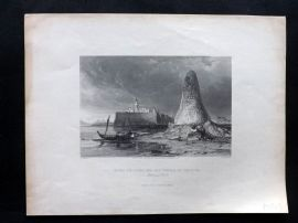 After Allom 1840 Antique Print. Burj-Er-Roos, or the Tower of Skulls. Tunisia